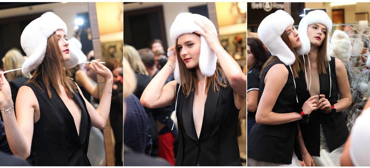 Посол Vogue Fashion Night Out - 2014 Женя Севастьянова примеряет ушанку FurLand из белоснежной североамериканской норки
